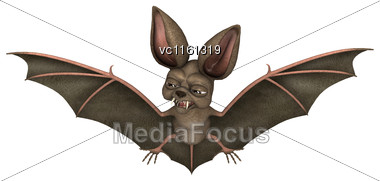 3D Rendering Of A Bat Isolated On White Background Stock Photo