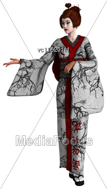 3D Rendering Of A Beautiful Geisha Isolated On White Background Stock Photo