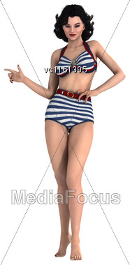 3D Rendering Of A Beautiful Pinup Girl Isolated On White Background Stock Photo