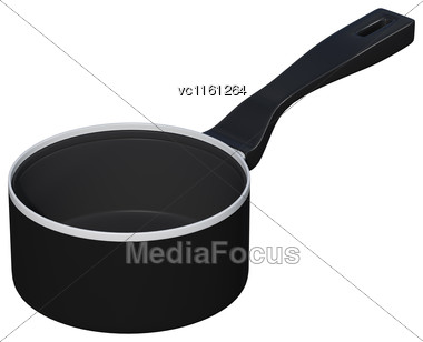 3D Rendering Of A Black Saucepan Isolated On White Background Stock Photo