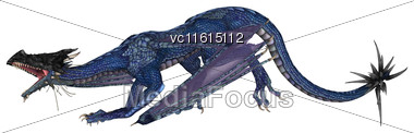 3D Rendering Of A Blue Fantasy Dragon Isolated On White Background Stock Photo