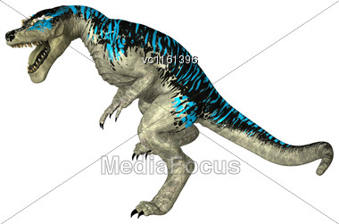 3D Rendering Of A Dinosaur Tyrannosaurus Rex Isolated On White Background Stock Photo