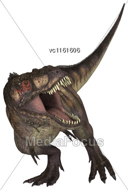 3D Rendering Of A Dinosaur Tyrannosaurus Isolated On White Background Stock Photo