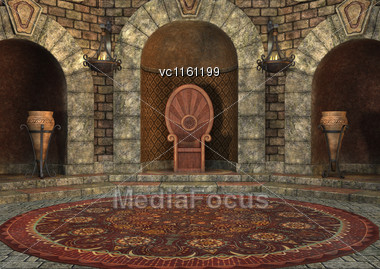 3D Rendering Of A Fairy Tale Throne Room Stock Photo