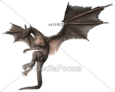 3D Rendering Of A Fantasy Dragon Flying Isolated On White Background Stock Photo