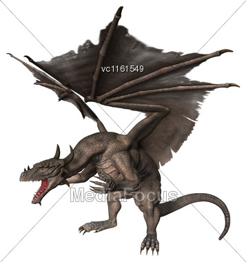 3D Rendering Of A Fantasy Dragon Isolated On White Background Stock Photo