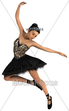 3D Rendering Of A Female Ballet Dancer Isolated On White Background Stock Photo