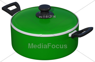 3D Rendering Of A Green Dutch Oven Isolated On White Background Stock Photo