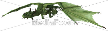 3D Rendering Of A Green Fantasy Dragon Isolated On White Background Stock Photo
