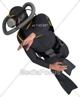 3D Rendering Of A Male Diver Isolated On White Background Stock Photo