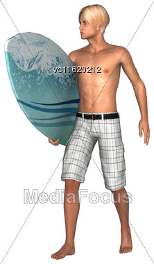 3D Rendering Of A Male Handsome Surfer Isolated On White Background Stock Photo
