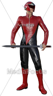 3D Rendering Of A Male Hero Isolated On White Background Stock Photo