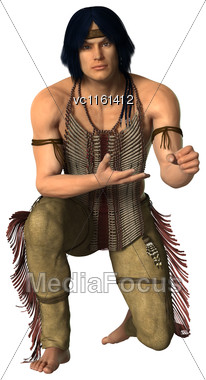 3D Rendering Of A Native American Man Isolated On White Background Stock Photo
