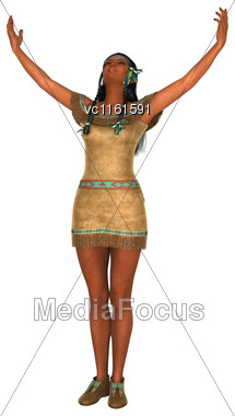 3D Rendering Of A Native American Woman Isolated On White Background Stock Photo