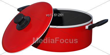3D Rendering Of A Red Dutch Oven Isolated On White Background Stock Photo