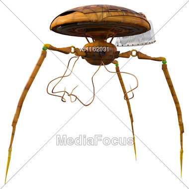 3D Rendering Of A Science Fiction War Machine Isolated On White Background Stock Photo