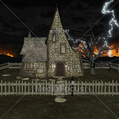 3D Rendering Of A Spooky House On A Night Sky, Lighting And Fire Background Stock Photo