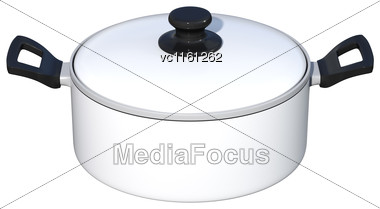 3D Rendering Of A White Dutch Oven Isolated On White Background Stock Photo