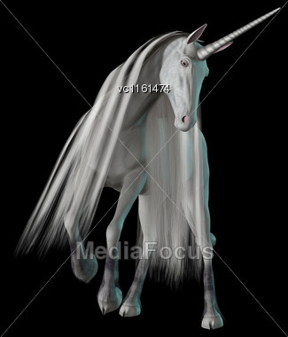 3D Rendering Of A White Fantasy Unicorn Isolated On Black Background Stock Photo