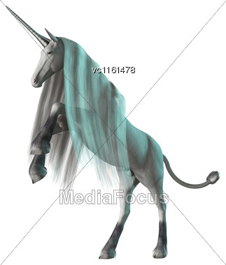 3D Rendering Of A White Fantasy Unicorn Isolated On White Background Stock Photo