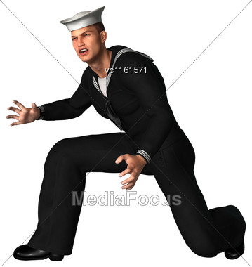 3D Rendering Of A Young Seaman Isolated On White Background Stock Photo