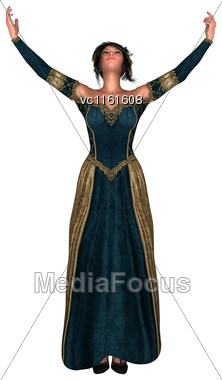 3D Renderingr Of A Beautiful Fairy Tale Princess Isolated On White Background Stock Photo
