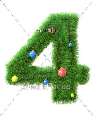 4 Number Made Of Christmas Tree Branches Stock Photo