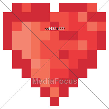 5 Color Pixel Heart. Vector Stock Photo