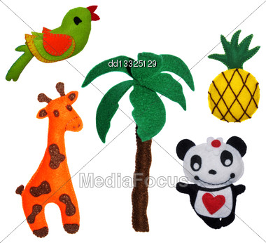 5 Felt Toys Animals Stock Photo