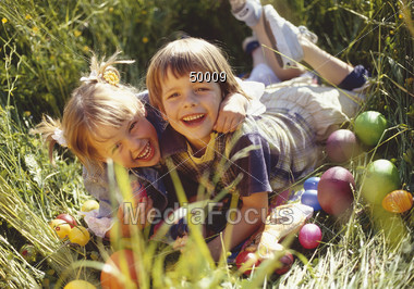child girls Easter Stock Photo