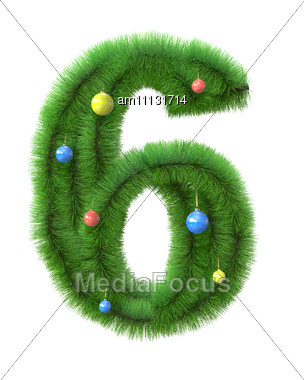 6 Number Made Of Christmas Tree Branches Stock Photo