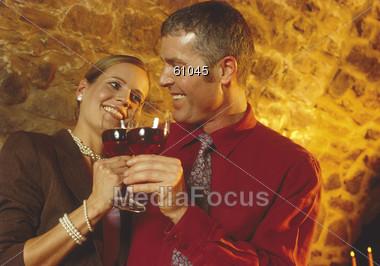 wine happiness toast Stock Photo