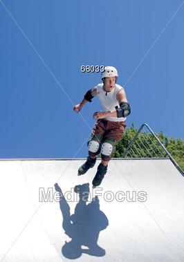 jumping protective kneepads Stock Photo