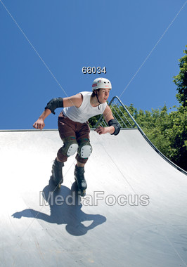 protective kneepads rollerblading Stock Photo