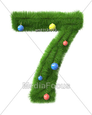 7 Number Made Of Christmas Tree Branches Stock Photo