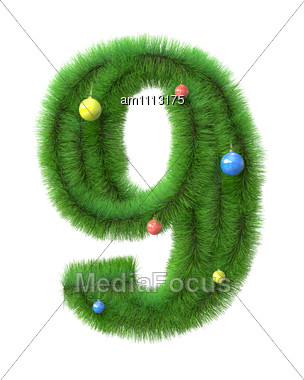 9 Number Made Of Christmas Tree Branches Stock Photo