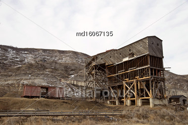 Abandoned Coal Mine In The Badlands Alberta Stock Photo