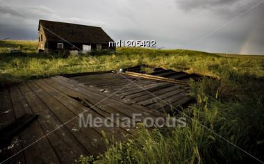 Abandoned Farm House In Saskatchewan Canada Wood Stock Photo
