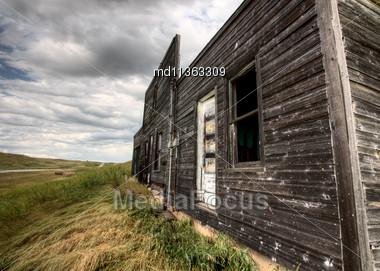 Abandoned Farmhouse Saskatchewan Canada Sunset And Prairie View Stock Photo