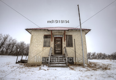 Abandoned School House One Room Canada Saskatchewan Stock Photo