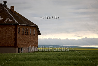 Abandoned School House In Saskatchewan Canada Prairie Stock Photo