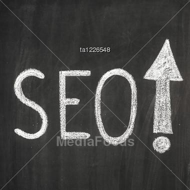 Abbreviation 'SEO' Written On The Blackboard Stock Photo