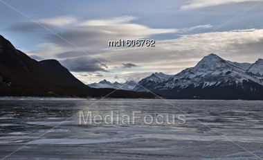 Abraham Lake Winter Ice Formations Bubbles Design Stock Photo