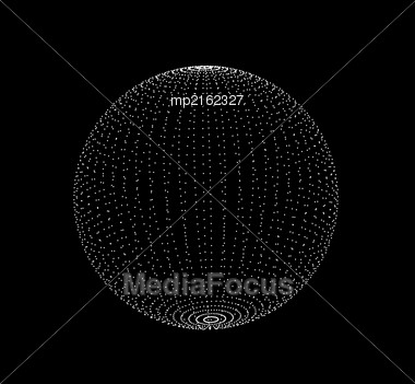 Abstract 3D Sphere Spiral Shape In The Form Of Luminous Balls. Vector Illustration Stock Photo