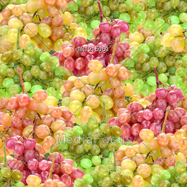 Abstract Background With Branches Of Fresh Ripe Motley Grape. Seamless Pattern For Your Design. Close-up. Studio Photography. Stock Photo