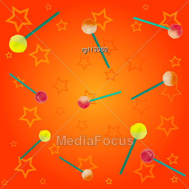 Abstract Background Of Candies And Yellow Stars Stock Photo