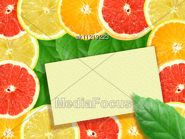 Abstract Background Of Citrus Slices With Message Card. Close-up. Studio Photography Stock Photo