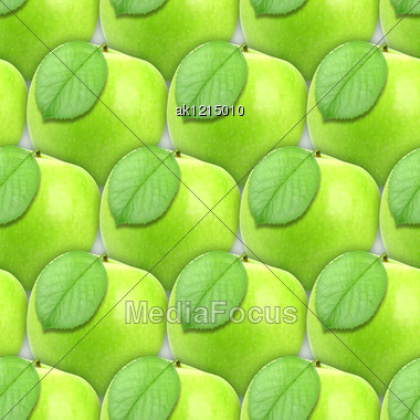 Abstract Background Of Fresh Green Apples With Leaf. Seamless Pattern For Your Design. Close-up. Studio Photography. Stock Photo