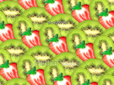 Abstract Background Of Fresh Green Kiwi And Red Strawberry Slices For Your Design. Close-up. Studio Photography. Attention - It Is Not A Seamless Pattern. Stock Photo