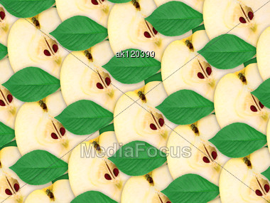 Abstract Background Of Fresh Yellow Apples Slices And Green Leaf For Your Design. Close-up. Studio Photography. Attention - It Is Not A Seamless Pattern. Stock Photo